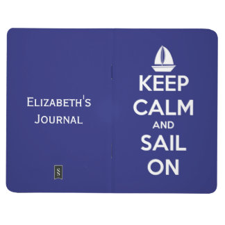 Keep Calm and Sail On Nautical Blue Personalized Journal