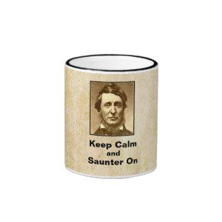 Keep Calm and Saunter On Thoreau Mug - style 1