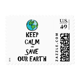 Keep Calm and Save Our Earth Stamp