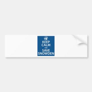 Keep Calm and Save Snowden Bumper Sticker