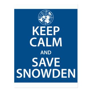 Keep Calm and Save Snowden Postcard
