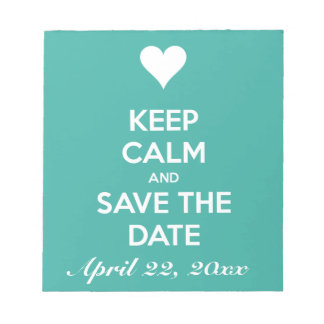 Keep Calm and Save the Date Blue Memo Notepads