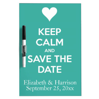 Keep Calm and Save the Date Blue Personalized Dry-Erase Whiteboard