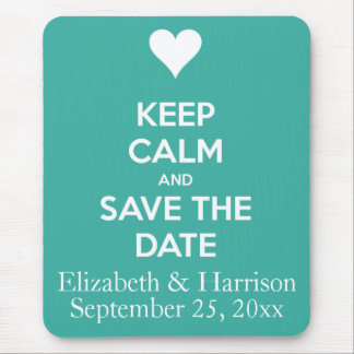 Keep Calm and Save the Date Blue Personalized Mousepads