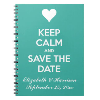 Keep Calm and Save the Date Blue Personalized Note Books