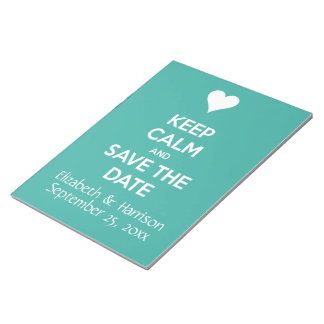 Keep Calm and Save the Date Blue Personalized Scratch Pad