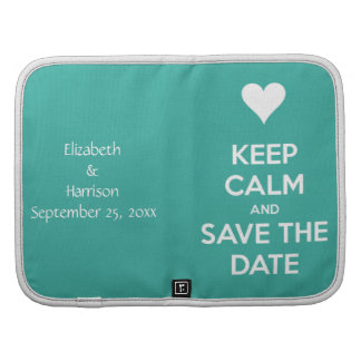 Keep Calm and Save the Date Blue Personalized Folio Planners