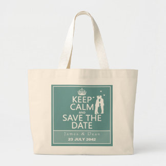 Keep Calm and Save the Date (fully customizable) Large Tote Bag