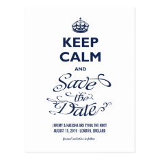 Keep Calm And Save The Date Funny Humour Photo Postcard at Zazzle