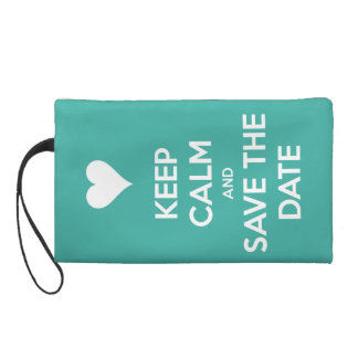 Keep Calm and Save the Date Island Blue Wristlet Purse