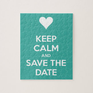 Keep Calm and Save the Date Island Bue Puzzle