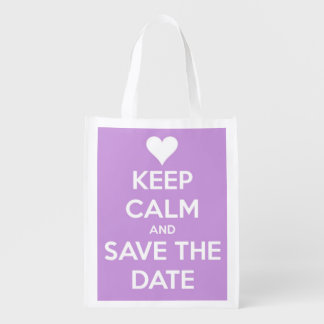 Keep Calm and Save the Date Lavender and White Grocery Bag