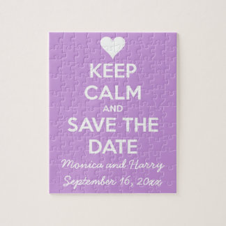 Keep Calm and Save the Date Lavender Jigsaw Puzzle