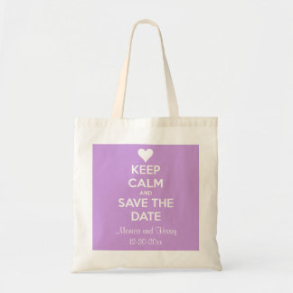 Keep Calm and Save the Date Lavender Personalized Canvas Bag