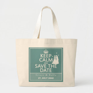 Keep Calm and Save The Date Lesbian Wedding Canvas Bags
