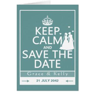 Keep Calm and Save The Date Lesbian Wedding Card