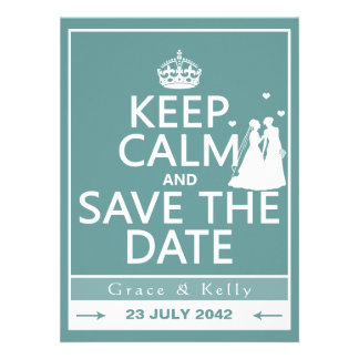 Keep Calm and Save The Date Lesbian Wedding Personalized Invitations