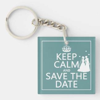 Keep Calm and Save The Date Lesbian Wedding Acrylic Key Chain