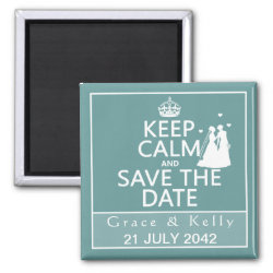 Keep Calm and Save The Date Lesbian Wedding Magnet