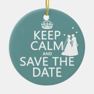 Keep Calm and Save The Date Lesbian Wedding Christmas Tree Ornament