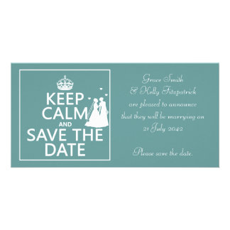 Keep Calm and Save The Date Lesbian Wedding Photo Card