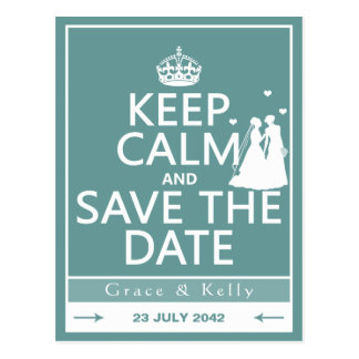 Keep Calm and Save The Date Lesbian Wedding Postcard