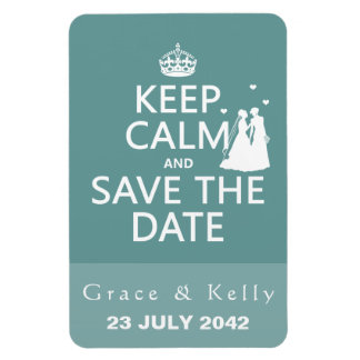 Keep Calm and Save The Date Lesbian Wedding Rectangle Magnet