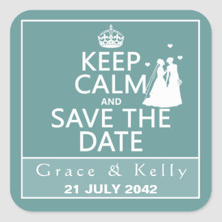 Keep Calm and Save The Date Lesbian Wedding Stickers