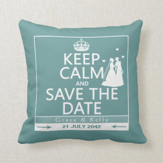 Keep Calm and Save The Date Lesbian Wedding Throw Pillow