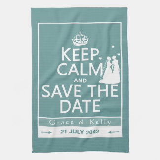 Keep Calm and Save The Date Lesbian Wedding Towels