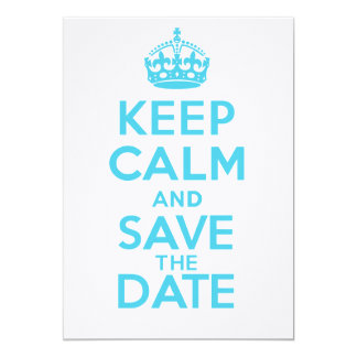 KEEP CALM and SAVE the DATE - Linen 5x7 Paper Invitation Card