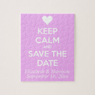 Keep Calm and Save the Date Pink Jigsaw Puzzle