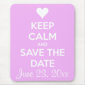 Keep Calm and Save the Date Pink Mousepads