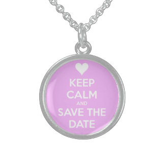 Keep Calm and Save the Date Pink Round Pendant Necklace