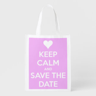 Keep Calm and Save the Date Pink Personalized Reusable Grocery Bag