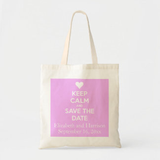 Keep Calm and Save the Date Pink Personalized Tote Bag