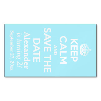 Keep Calm and Save the Date Summer Sky Blue Magnetic Business Cards (Pack Of 25)
