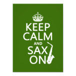 Keep Calm and Sax (saxophone) On (any color) 5.5x7.5 Paper Invitation Card