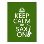 "Keep Calm and Sax (saxophone) On (any color) 5.5"" X 7.5"" Invitation Card"