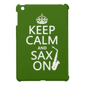 Keep Calm and Sax (saxophone) On (any color) iPad Mini Cover