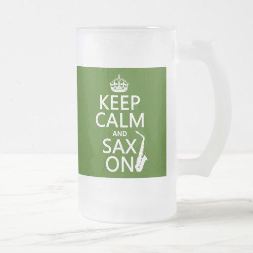 Keep Calm and Sax (saxophone) On (any color) Coffee Mugs