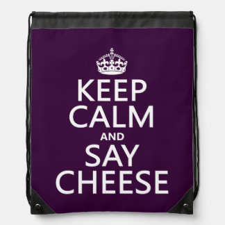 Keep Calm and Say Cheese (photography)(any color) Drawstring Backpack