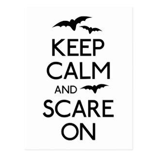 Keep calm and scare on bats postcard