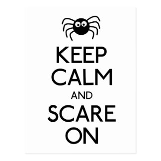 Keep calm and scare on spider postcard