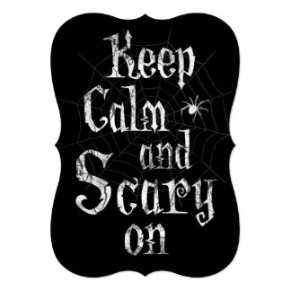 Keep Calm and Scary On, Black Spiderweb Halloween Card