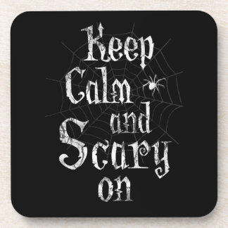 Keep Calm and Scary On, Black Spiderweb Halloween Beverage Coaster