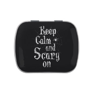 Keep Calm and Scary On, Black Spiderweb Halloween Jelly Belly Tin