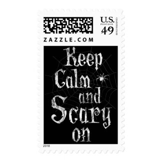 Keep Calm and Scary On, Black Spiderweb Halloween Postage
