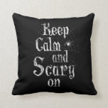 Keep Calm and Scary On, Black Spiderweb Halloween Throw Pillow