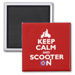 Keep calm and scooter on Red White Refrigerator Magnet